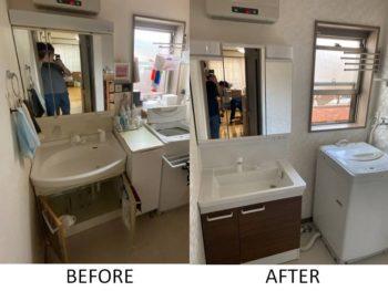 洗面化粧台の交換。壁紙、クッションフロア貼替