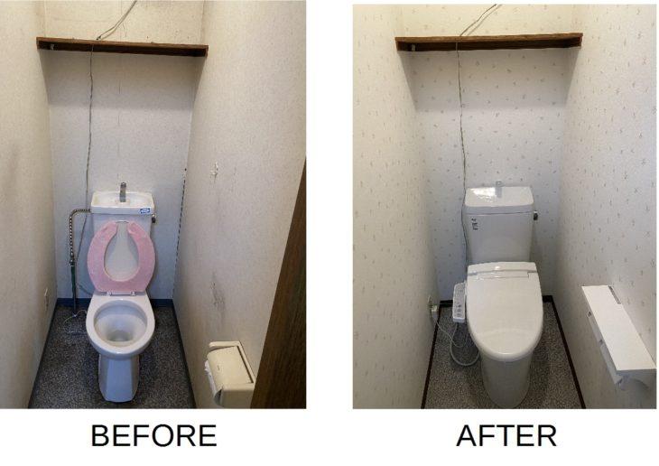 トイレ・壁紙・クッションフロアの交換でニオイ問題も解決しました