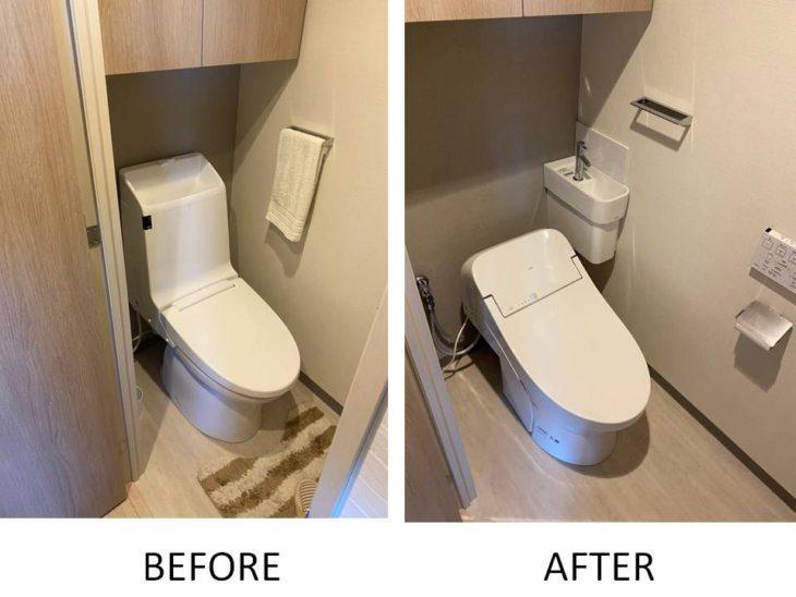 マンショントイレに手洗い器設置&タンクレスに交換