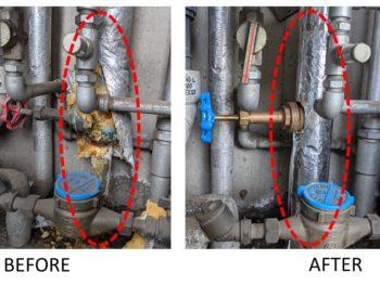 共有住宅パイプスペース内 排水管 漏水工事