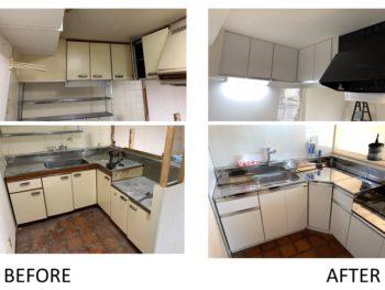 キッチン交換、カウンター造作工事