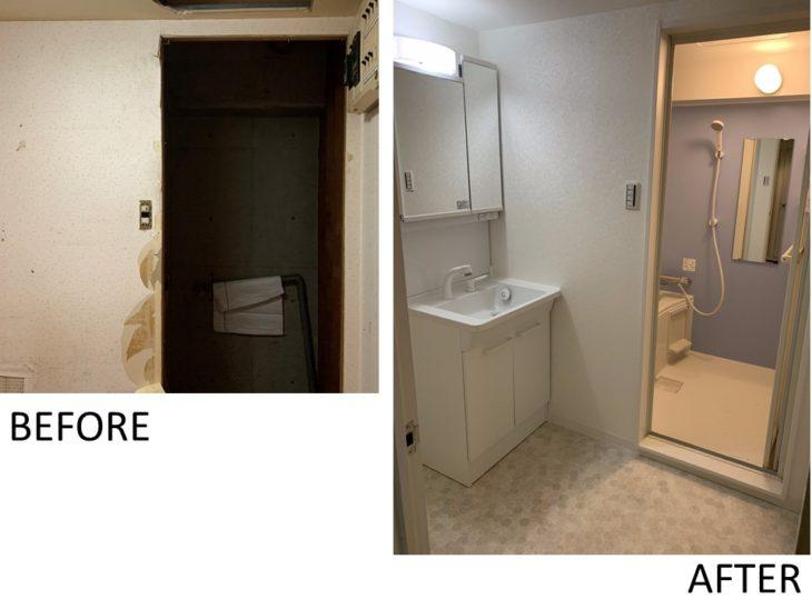 ユニットバス、洗面化粧台設置工事