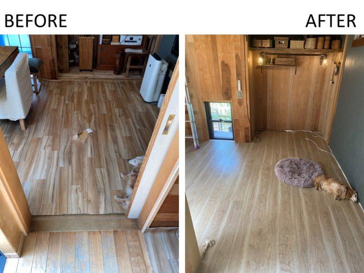 かわいいワンちゃんの居る、diy好きの素敵なお宅の畳をフローリングに、キッチンの袖壁を撤去しました。