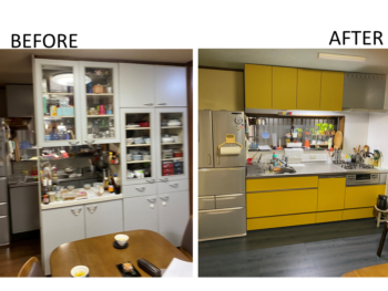 キッチンと、床の色をガラリと変えてメリハリのあるカッコいいキッチンに!